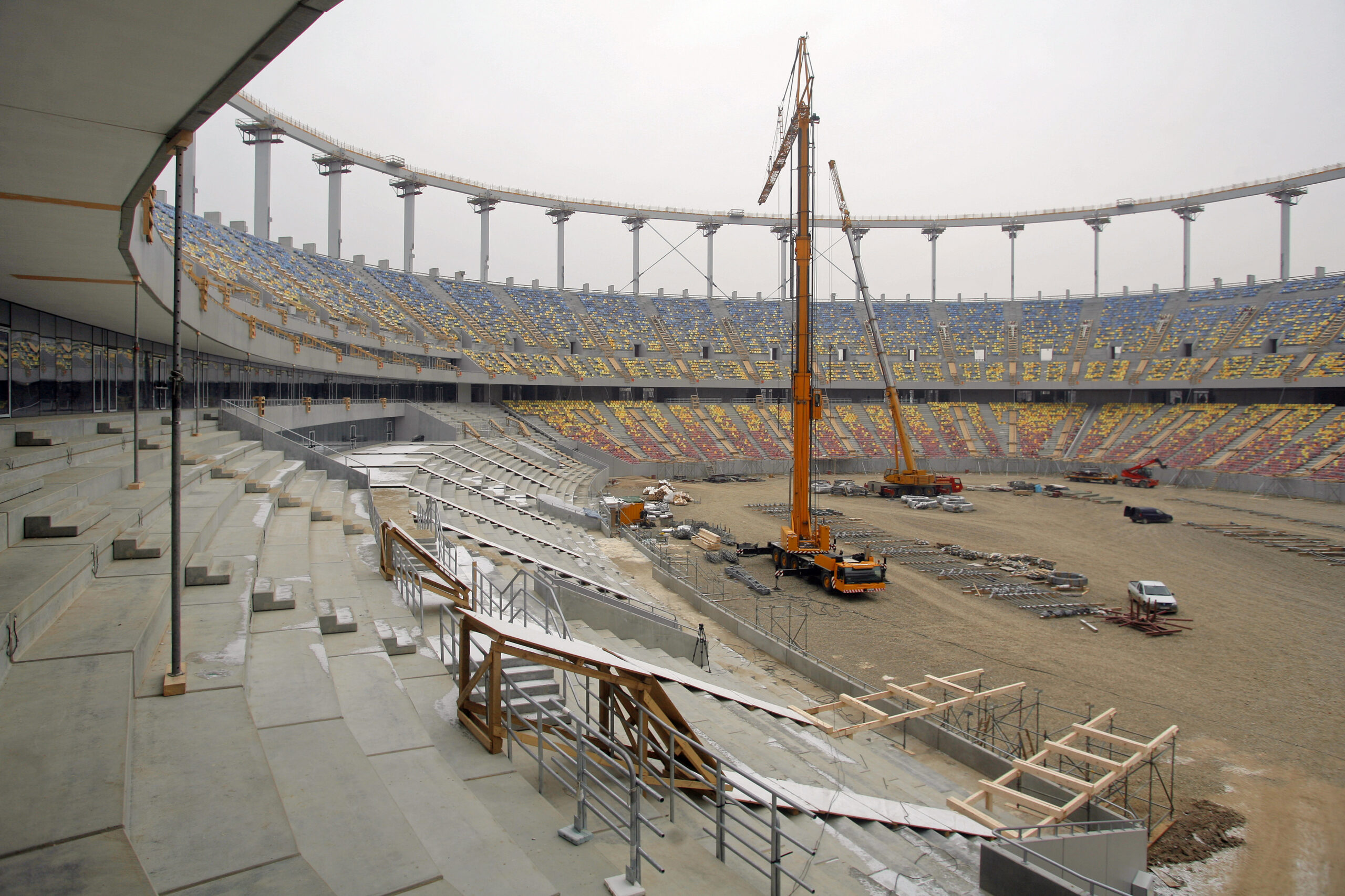 Construction site of a stadium during winter
